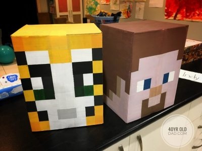 minecraft party Stampy Cat and Steve heads