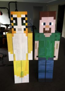 minecraft party Stampy Cat and Steve statues