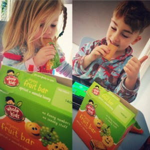 Kids eating Whole Kids fruit bars