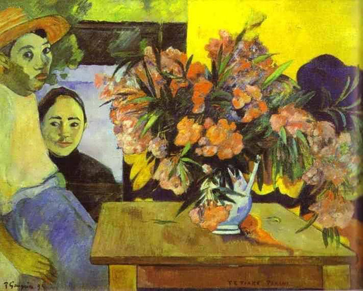 huariqueje:  Tiare Farani (Flowers of France)  -  Paul Gauguin 1891 French 1848-1903 Oil on canvas, 72 x 92 cm.  Pushkin Museum of Fine Art, Moscow, Russia