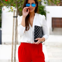 White x red