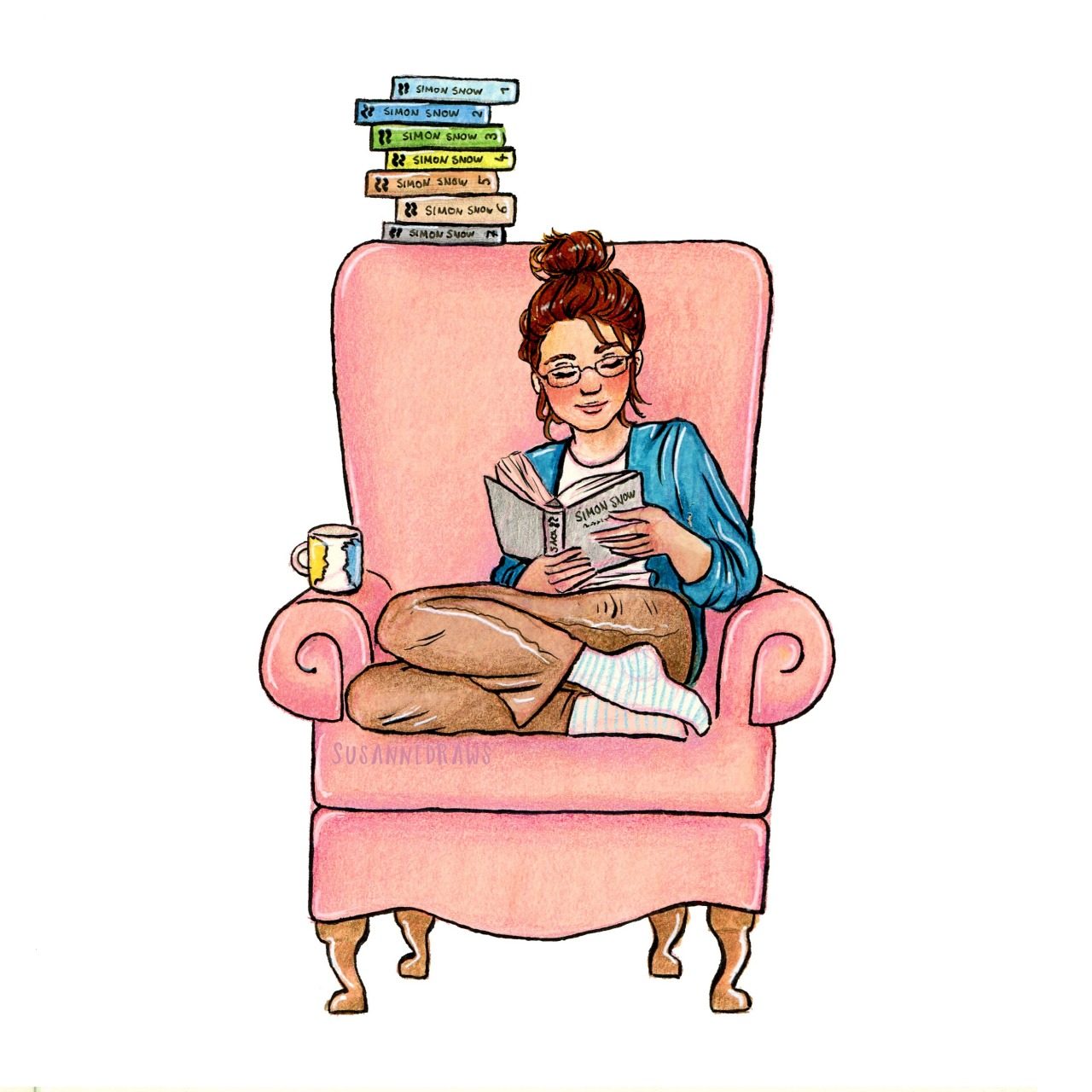 "Inktober day 6Cath Avery ""I'm not really a book person."" ""That might be the most idiotic thing you've ever said to me."" Happy release day Carry On @rainbowrowell! :) Here's another Cath-reading-Simon-Snow drawing. The colors are inspired by the Fangirl anniversary edition and the Simon Snow books are from @damecatoe {x}"