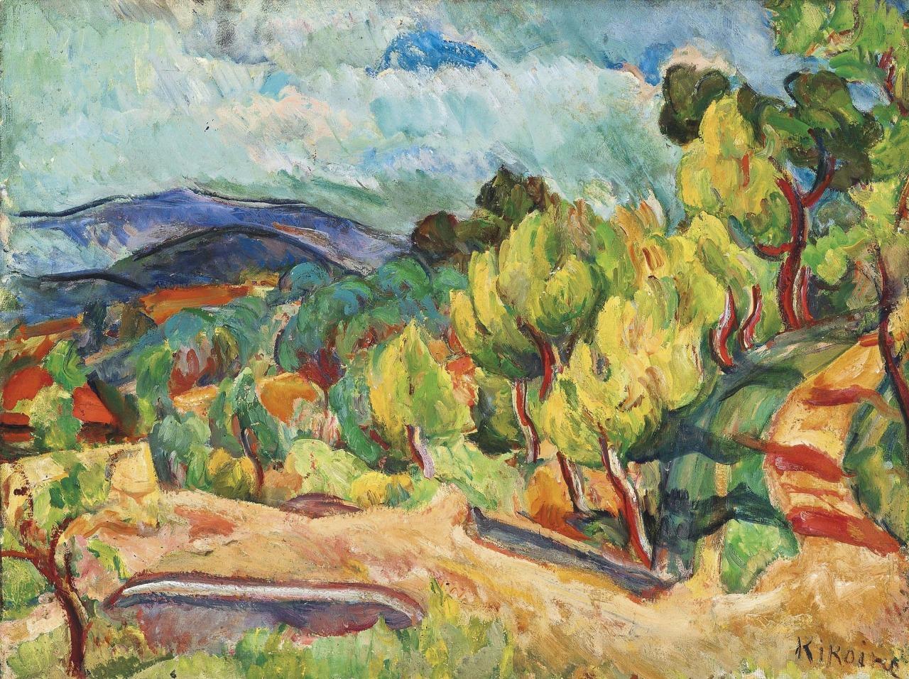 lawrenceleemagnuson:Michel Kikoïne (Belarus 1892-1968 France) Route dans les arbres oil on canvas 56 x 72.8cm