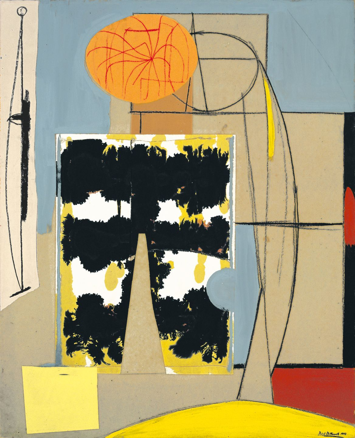 transistoradio:</p><br /><br /> <p>Robert Motherwell (1915-1991), Figure with Blots (1943), oil, ink, crayon, and pasted paper and Japanese paper on paperboard. Via Abstract Critical.<br /><br /><br />