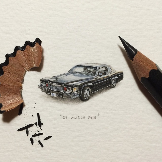 Day 16/100 (4/25 #freefridays) : 1979 Cadillac Coupe Deville. 🇺🇸 31 x 14 mm. SOLD. #potluck100pfa #freefridays #miniature #watercolour #paintingsforants #cadillac #coupedeville #1979 #car (at Observatory)