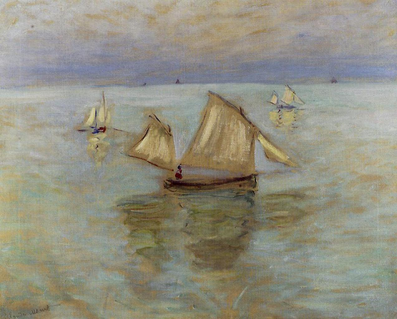 huariqueje: Fishing Boats at Pourville   -    Claude Monet  1882 French  1840-1926 Oilon canvas Private collection
