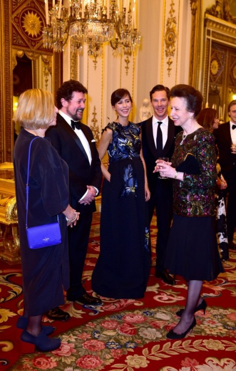 Hi-Res - 2015 03 10 -  Buckingham Palace - Princess Anne Attends Dinner In Support Of Motor Neuron Disease Association by Ian WestOpen in new tab / window for                [1366 x 2145 pixels]                 !Caption : Anne attends MND reception and dinner(Left - right) Victoria Wood, Michael Ball, Sophie Hunter, Benedict Cumberbatch talk with the Princess Royal as they attend a reception and dinner in support of Motor Neurone Disease Association at Buckingham Palace, London.Picture date: Tuesday March 10, 2015. See story ROYAL Hawking. Ian West.Link