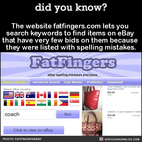 The website fatfingers.com lets you search keywords to find items on eBay that have very few bids on them because they were listed with spelling mistakes. Source