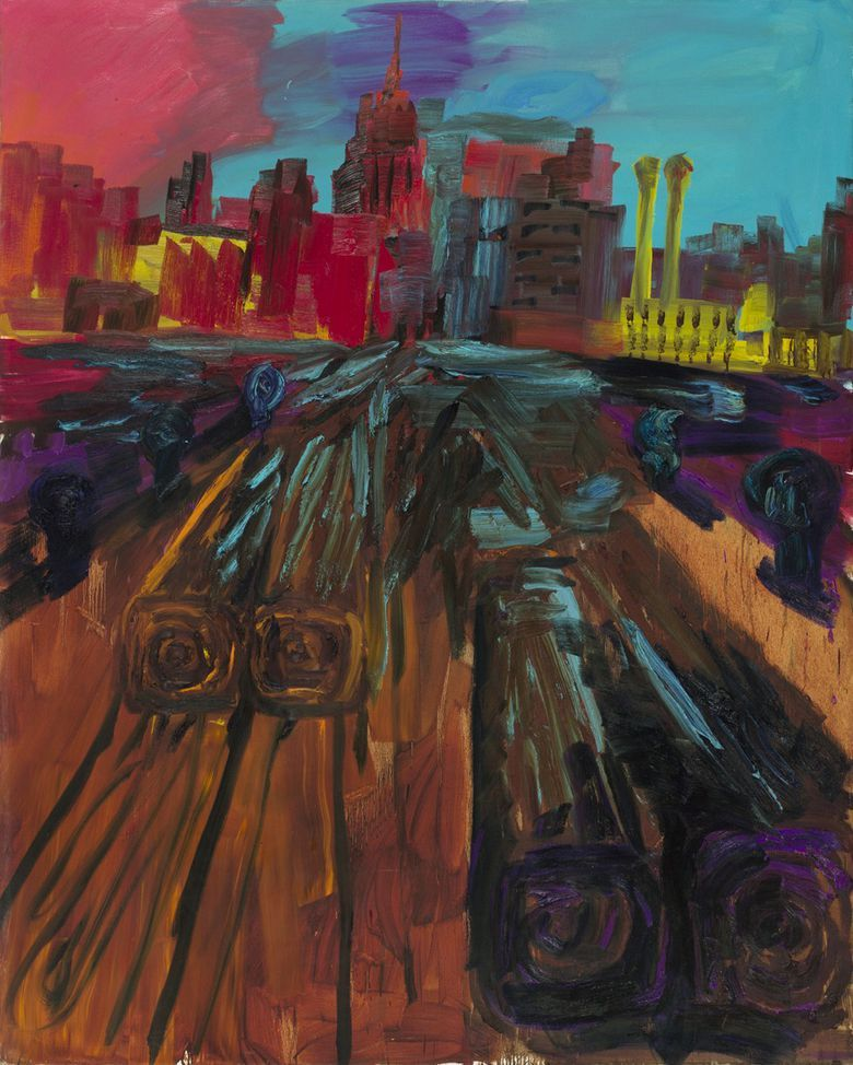 thunderstruck9:  Rainer Fetting (German, b. 1949), Pier to Manhattan, 1984. Oil on canvas, 265 x 214 cm.