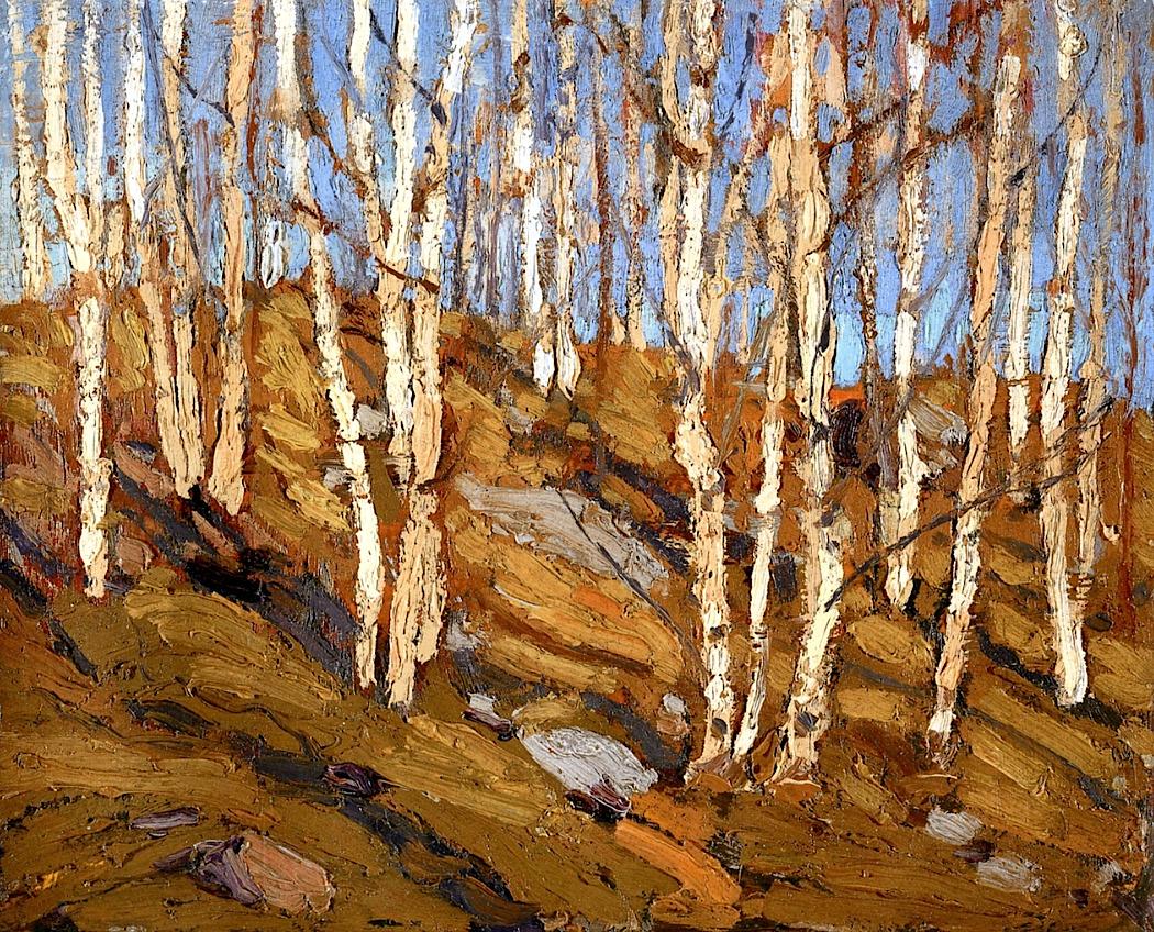 wetreesinart:Tom Thomson (Canadian,1877-1917),Northen Spring, 1915,21,6 x 26,8cm, Ottawa, National Gallery of Canada