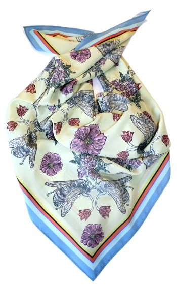 Limited Edition Love Bees Silk Scarf. 90x90cm. Made and printed in South East England. Now available in my shop.  http://shop.penelope-kenny.com/product/love-bees-silk-scarf
