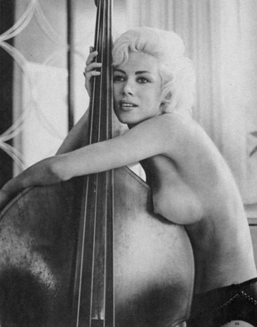 bordeaux-bordello:  Pat Barrington  I don't see enough nudity with double basses. Okay, she's not technically nude.