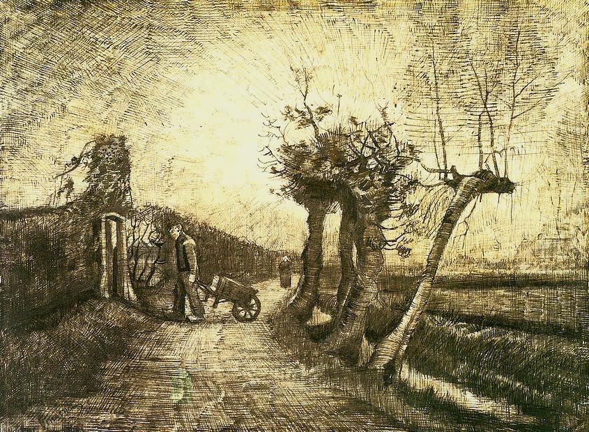 dappledwithshadow:  Vincent van GoghBehind the Hedgerowsc.1885
