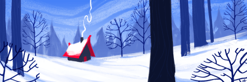Thought I'd do a monthly landscape sorta thing to go with the avatar thing, since I don't do enough ~environments~ so here's a wintery landscape since where I'm from December = snow, snow, and more snow. :D Definitely inspired by Eyvind Earle.