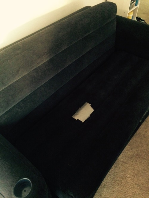 The aero-couch made it 4 whole days before the cats punctured it.In other news… I miss my furniture.