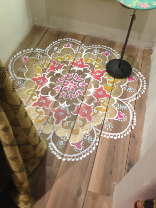 Stenciled Floors Hardwood Flooring Mandala Pattern Floor Lamp Minimal Design