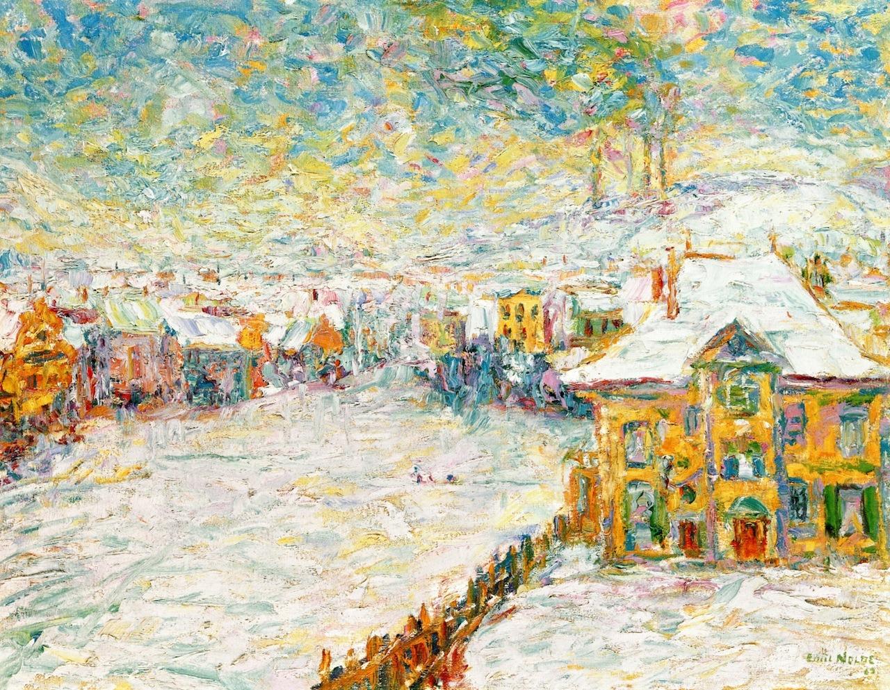 dappledwithshadow:Winter Landscape, JenaEmil Nolde - 1907