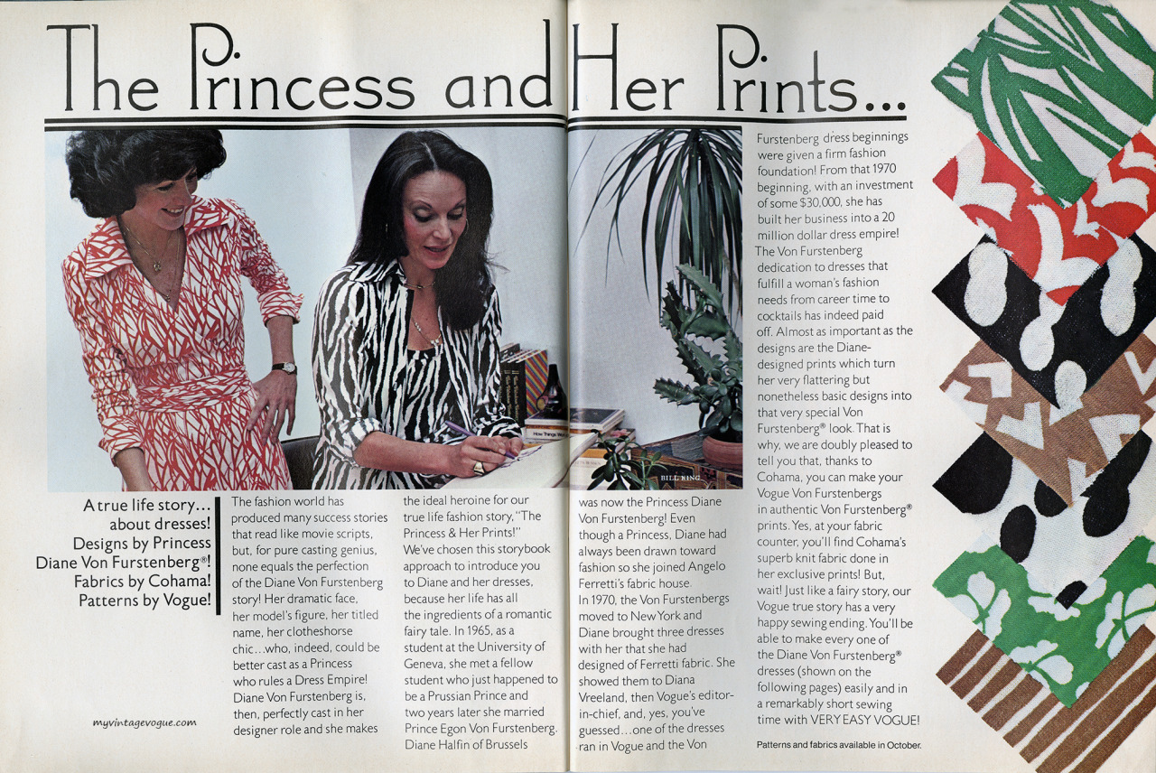 The Princess and Her Prints - Vogue Patterns, fall 1976