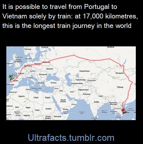 unoetrino:ultrafacts:</p> <p>vancity604778kid:ultrafacts:Source (Want more facts? Click HERE to follow)</p> <p>How long does it take??</p> <p>The 17 000 km journey takes about 327 hours. That's over 13-and-a-half days. [x]</p> <p>Voglio farlo.FACIAML