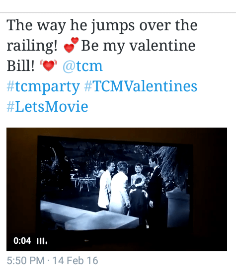 Little late for posting- my tweet from the Valentine's day 2016 airing of Sabrina on TCM