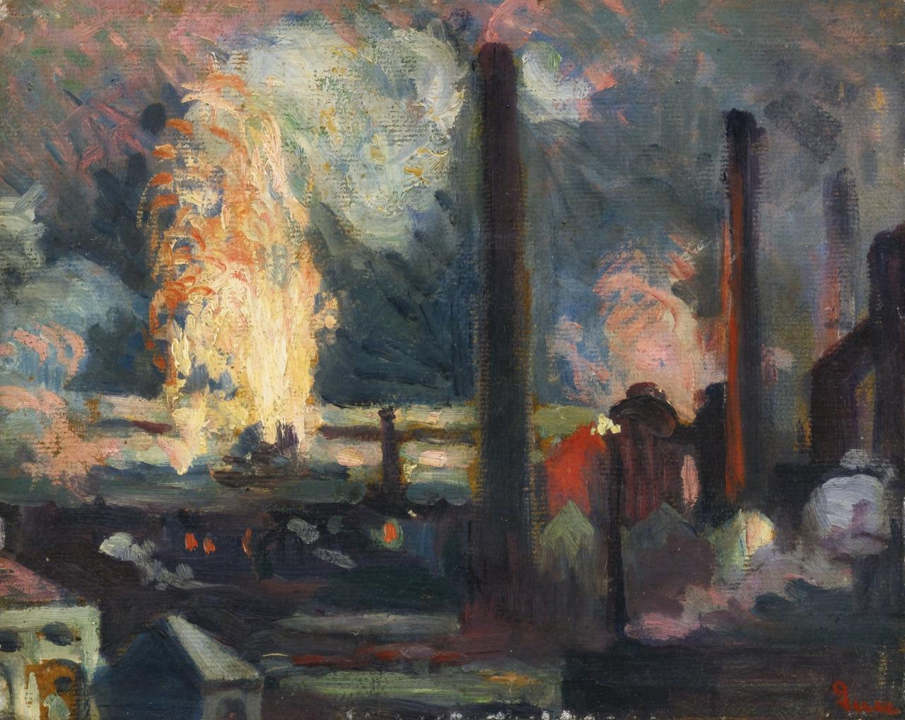 lawrenceleemagnuson:Maximilian Luce (France 1858-1941)Usines, la Nuit - Factories, the Night oil on paper mounted on canvas 22 x 27cm