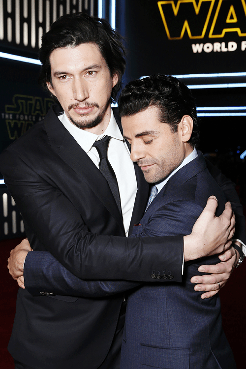 mcavoys:  Adam Driver and Oscar Isaac attend the Premiere of Walt Disney Pictures and Lucasfilm's 'Star Wars: The Force Awakens' on December 14, 2015 in Hollywood, California.