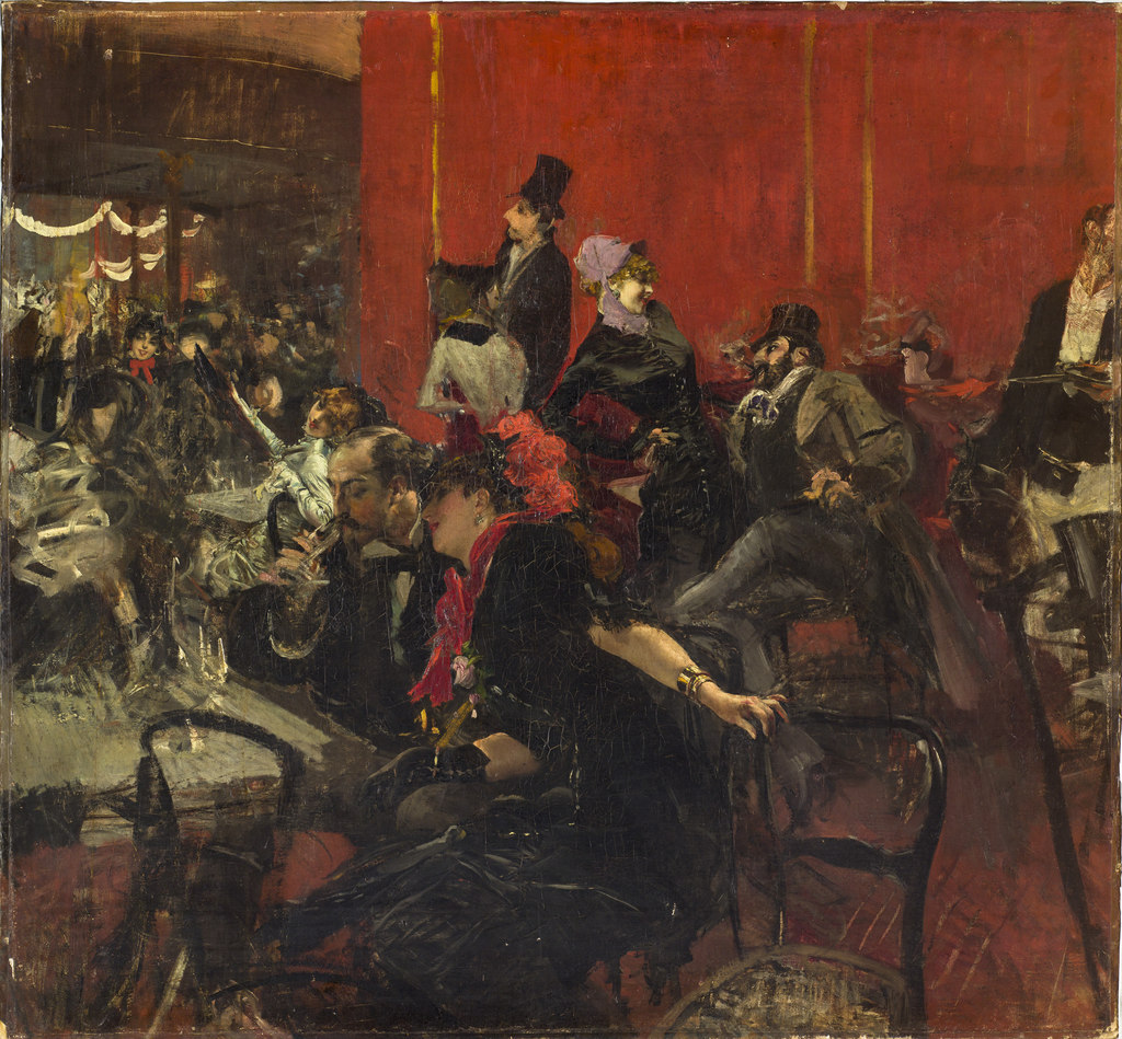 amare-habeo:  Giovanni Boldini (Italian, 1842 - 1931)  Party scene (Party scene at the Moulin Rouge) (Scène de fête dit aussi Scène de fête au Moulin Rouge), 1889Oil on canvas, 96,8 x 104,7 cm