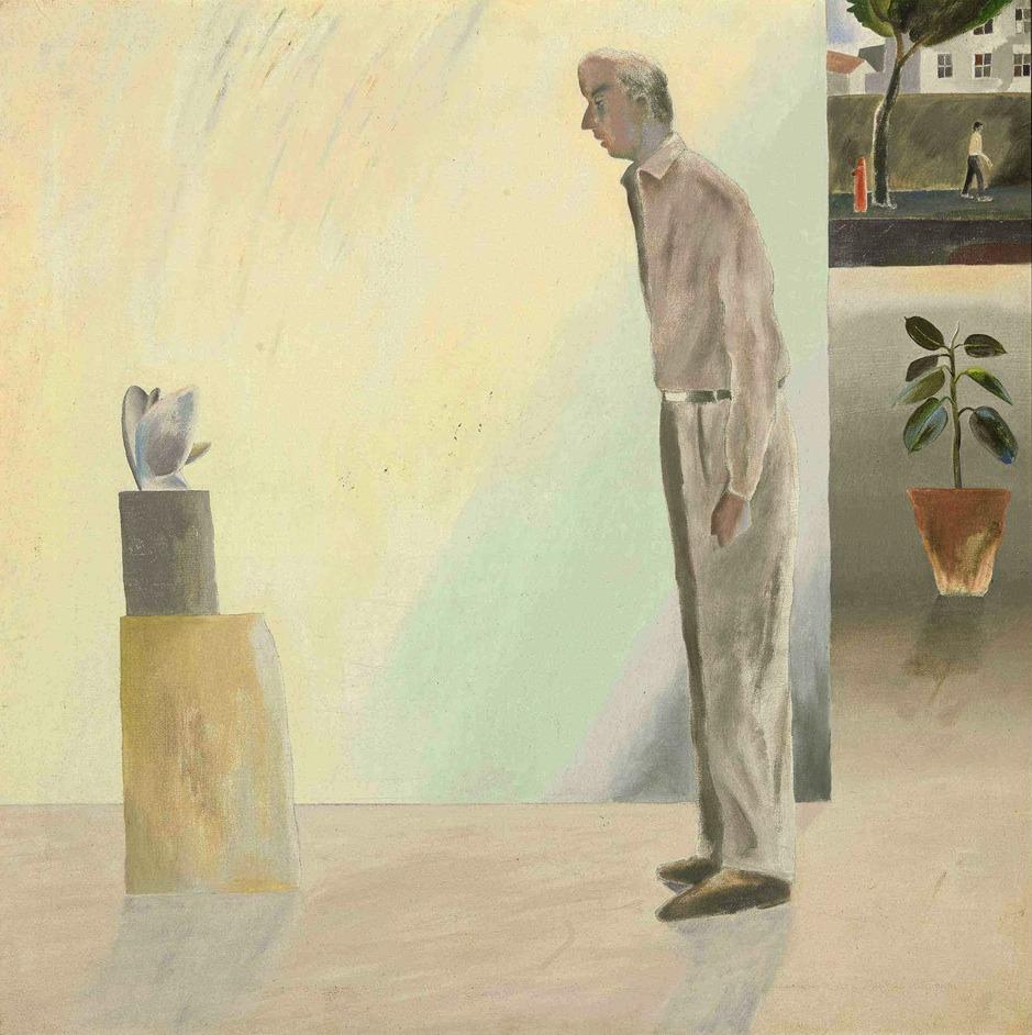 thunderstruck9: Atul Dodiya (Indian, b. 1959), Untitled, 1987. Oil on canvas, 75.3 x 75.3 cm.