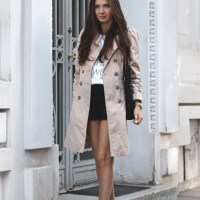 trench coat x shorts