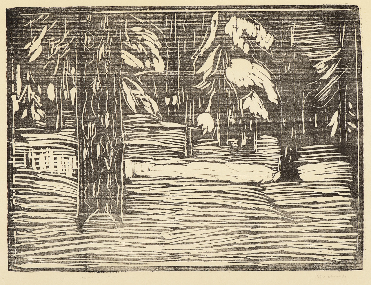 thusreluctant:Woodland in Snow by Edvard Munch