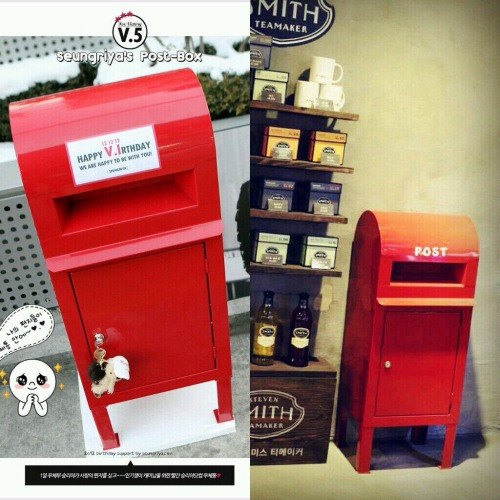 myseungri1212: Seungriya.com present for seungri on his birthday. A cute letterbox!!! 😍 andseungri put them in his cafe #ANDhere so that fans could put their letters in it!! Daebak!!! Seungriyacom so genius and seungri so kind ^^ Pic cr : @seungriyacom