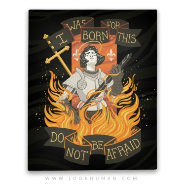 Illustration art canvas Religious icon wall art t shirt joan of arc graphic  tee Saints wall decor jeanne d'arc do not be afraid religious iconography  saint joan I WAS BORN FOR