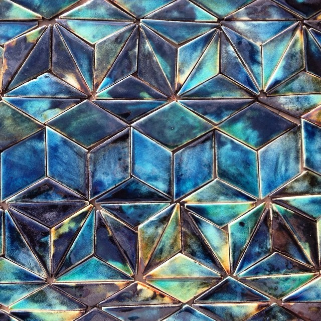 Very pleased with the colours of these beauties straight out of the kiln this morning! #nofilter #moodyblues #decadent #beautiful #interior #decor #wall #geometric #handmadetiles #triangles #rhombus #cube #hex #star #tile #tiles #stoneware #guymitchelldesign #guymitchellart #blue #bluetiles #architecture