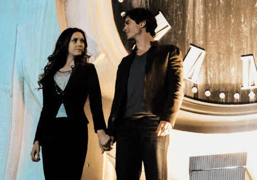 "iansomerhottest:</p> <p>Delena 6x20 stills || ""I'd leave my happy home for you"""