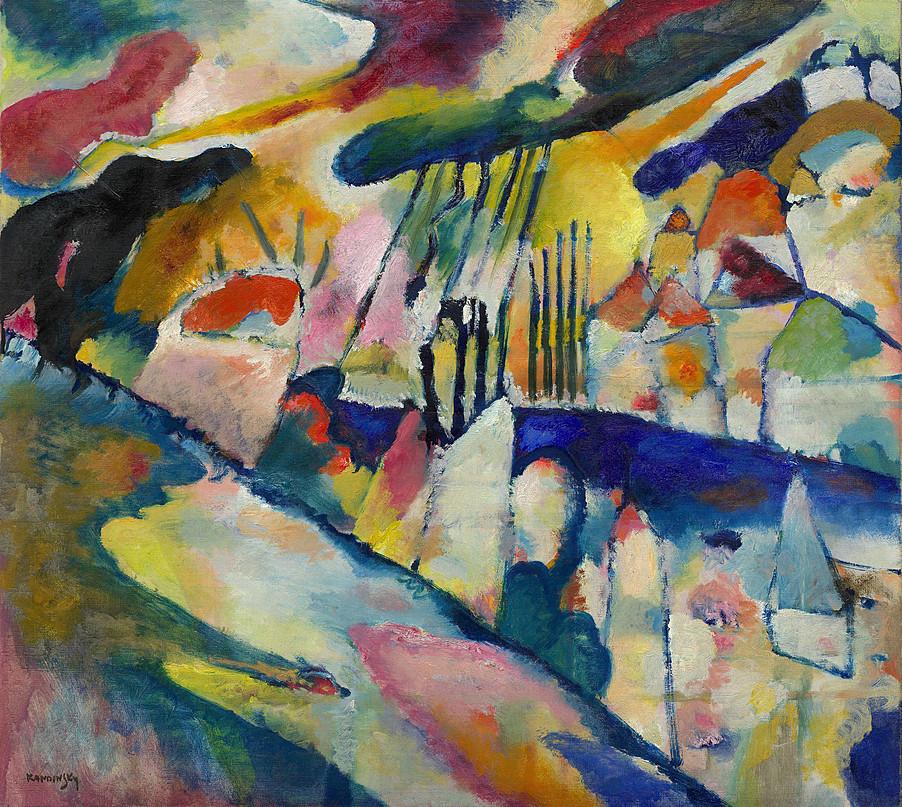 herzogtum-sachsen-weissenfels:  Wassily Kandinsky (Russian, 1866-1944), Landschaft mit Regen [Landscape with Rain], 1913. Oil on canvas,70.2 x 78.1 cm.