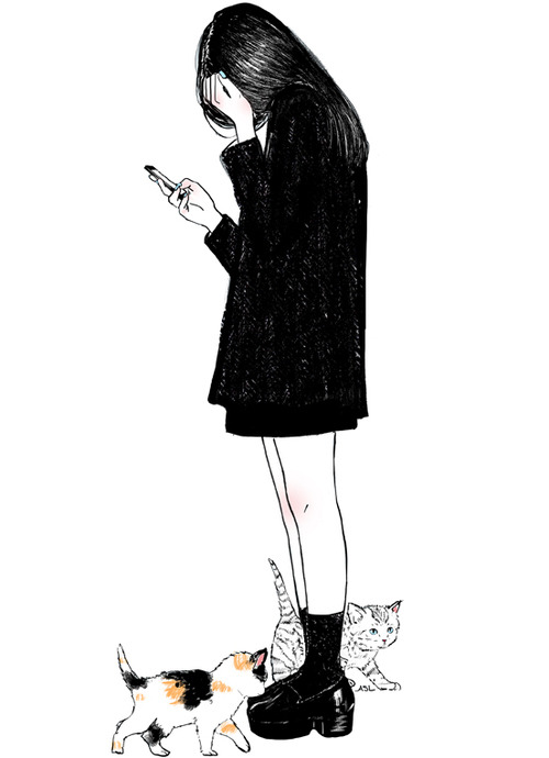 Image result for vintage drawings of sad kittens