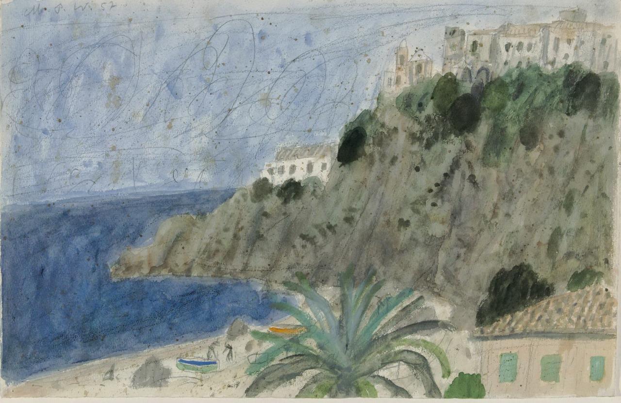 dappledwithshadow:  Max PechsteinAgrópoliDimensions: Ca. 34 : 51,5 cmMedium: Watercolor, black chalk and pencil on vellumCreation Date: 1952