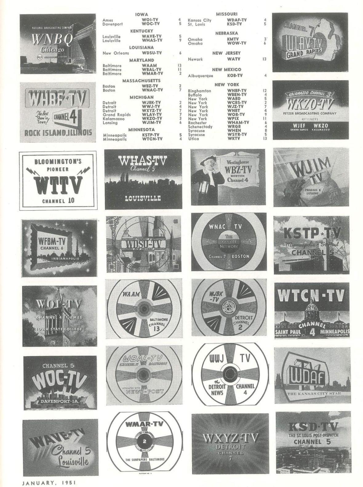 'TV Station List' - page 2 of 4 - published in Radio-Electronics - January 1951