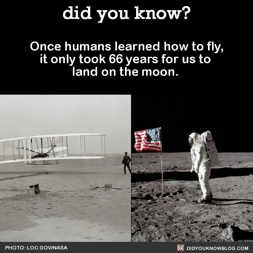 Once humans learned how to fly, it only took 66 years for us to land on the moon. Source