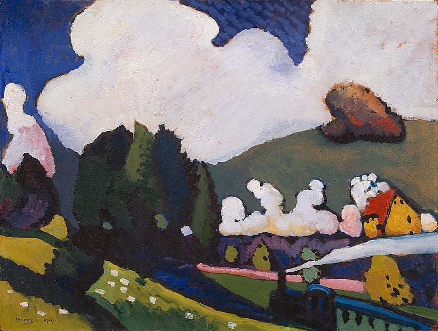 la-belle-epoche:  Wassily Kandinsky (Russian, 1866-1944) Landscape near Murnau with Locomotive, 1909 Oil on board  Guggenheim Museum, New York