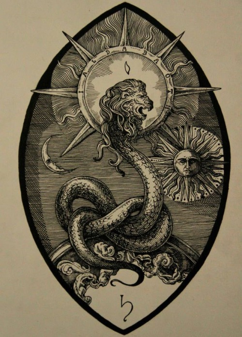 A serpent, tail coiled, with a lion's head. The lion's head is surrounded by a halo in which its name is inscribed. To the right is a stylized sun and to the left a stylized moon. Beneath the serpent's coils is the sigil of Saturn. The entire image is encompassed in a mandorla.