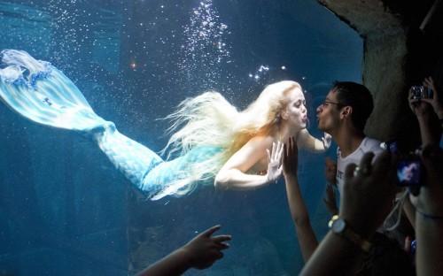 A mermaid at the Sao Paulo Aquarium in Sao Paulo, Brazil