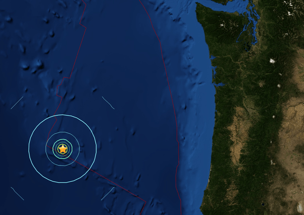 7 EARTHQUAKES OFF THE OREGON COAST IN ONE DAY..No tsunamis.. no major action..But major concerns, I'd sure say..Scientists are quoted (http://www.kirotv.com/news/news/sizeable-earthquakes-hit-oregon-coast/nmSDs/) saying that these quakes are not a signal of anything larger to come–but I'd dare say the same people proclaiming there is nothing to fear are also the same people who say earthquake predictions cannot really be made..Others would disagree.And even if nothing larger is coming, it's a concern when 7 shakers take place in 24 hours close to the Oregon coastline..