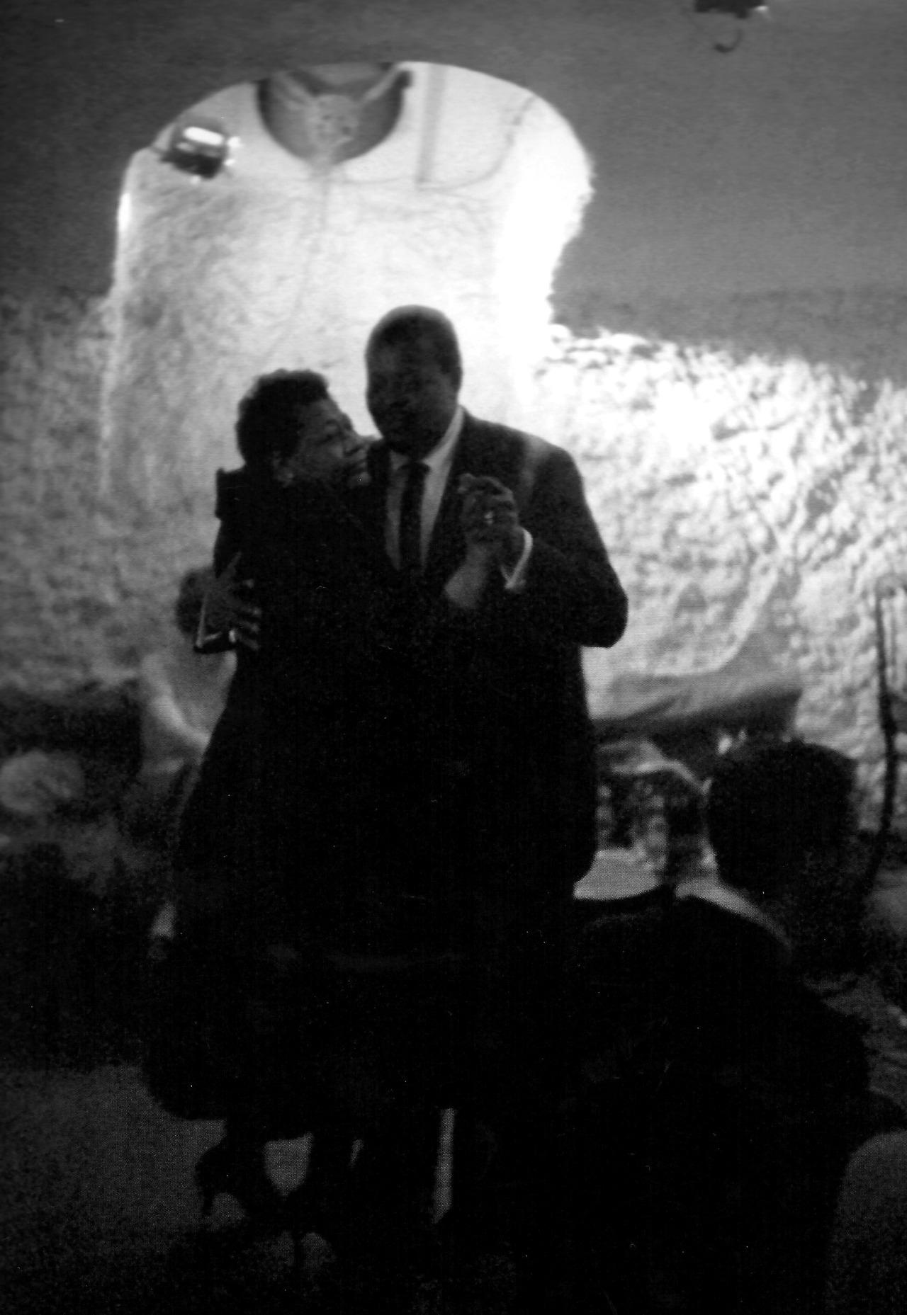 Ella Fitzgerald and Oscar Peterson dancing at Club Saint Germain, Paris, 1958; photographed by Herman Leonard.