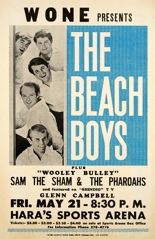 WONE presents The Beach Boys concert poster - Hara's Sports Arena - Dayton, Ohio U.S.A. - May 21, 1965