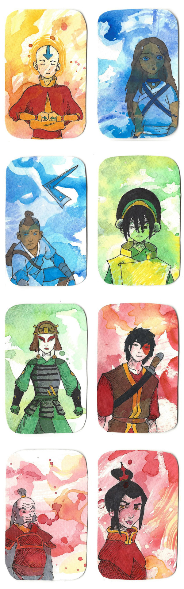 More art cards, this time from Avatar: The Last Airbender! Markers on top of watercolor.