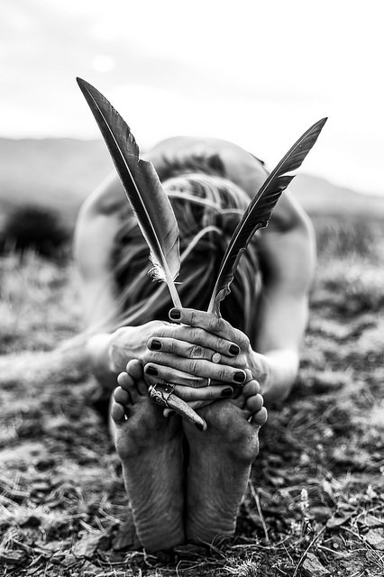 with-grace-and-guts: Early In The Morning by The Noisy Plume on Flickr. Her hamstrings lengthened out over the earth, grateful for the sensation of an earthen surface. Heels grounded down into the cool damp earth as her back body lengthened. Arms moving forward, fingers resting on the toes that carried her. All within the space of surrender, as she breathed into paschimottanasana, that posture of intense opening of the body's west.