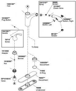 Kohler K-10433 Kitchen Faucet Parts Diagram