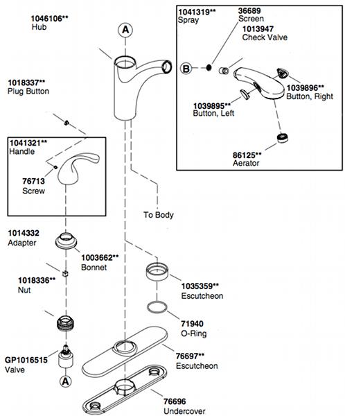 kohler forte kitchen faucet parts diagram - kitchen design