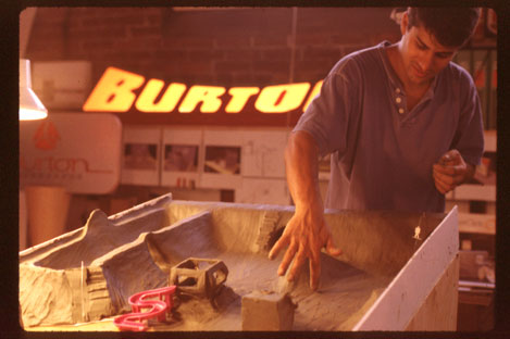 Working on model for Burton photo shoot